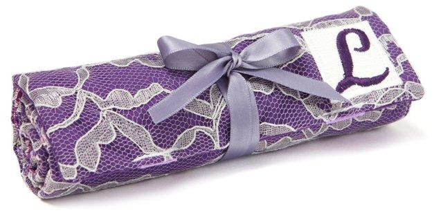 Monogrammed Romance Jewelry Roll, Purple