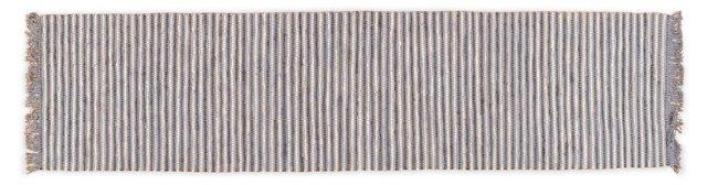 """2'6""""x10' Evar Flat-Weave Runner, Blue"""