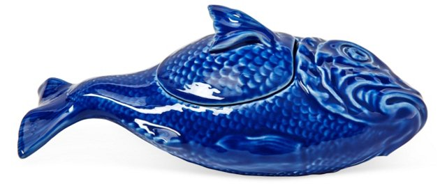 Hand-Painted Fish Personal Tureen, Blue