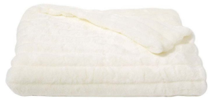 Faux-Mink Throw, Ivory