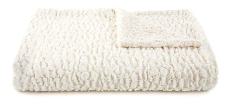 Seashell Faux Fur Throw, Cream