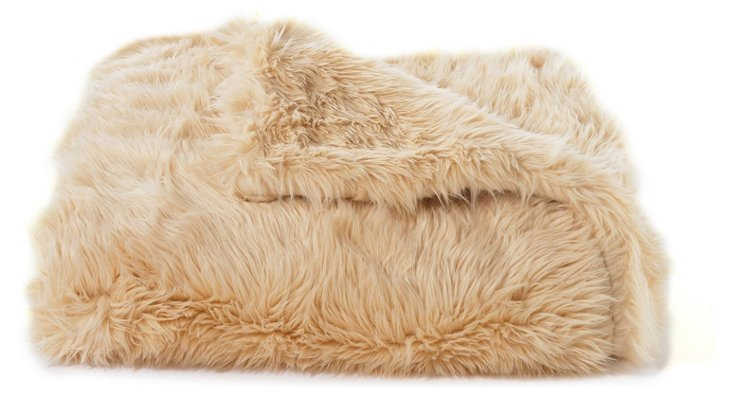 Faux-Fur Throw, Camel Sheepskin
