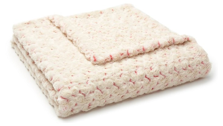 Rosebud Toddler Blanket, Cream/Pink