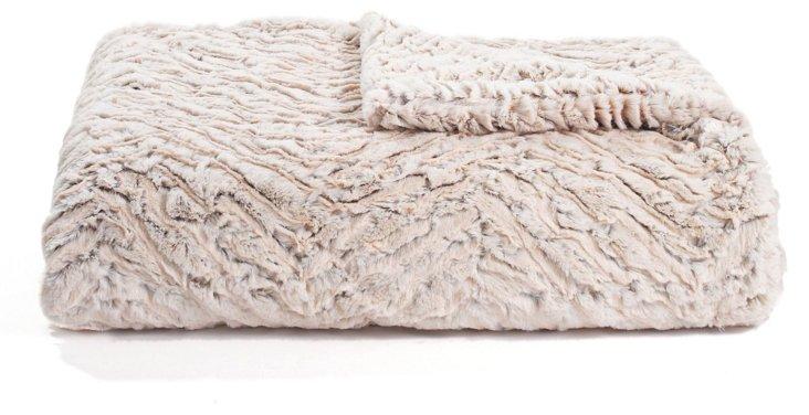 Zebra Faux Fur Throw, Cream/Camel