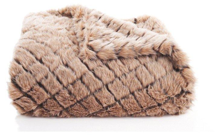 Check Fox Faux-Fur Throw, Brown