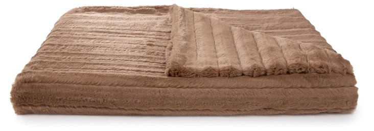 Oversize Channel Throw, Mocha