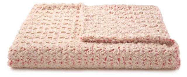 Rosebud Throw, Cream/Pink