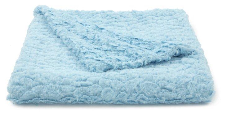 Seashell Faux-Fur Baby Blanket, Blue