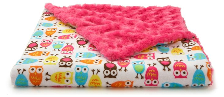 Owl Baby Blanket, Pink
