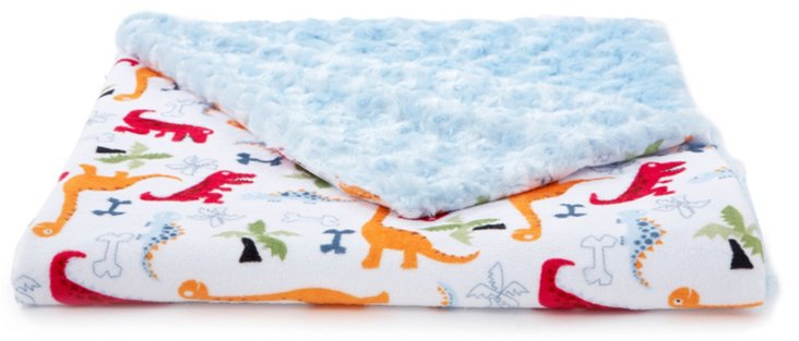 Dino and Jungle Baby Blanket, Blue