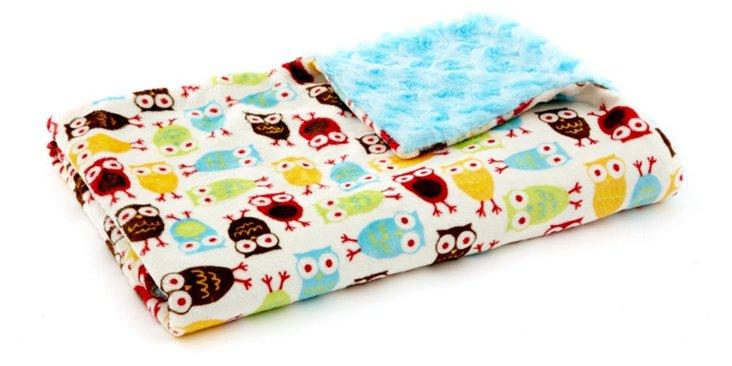 Owl Toddler Blanket, Turquoise