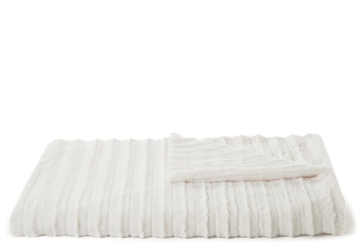 Oversize Faux-Fur Throw, Cream Channel