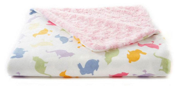 Farm Animals Faux-Fur Baby Blanket, Pink