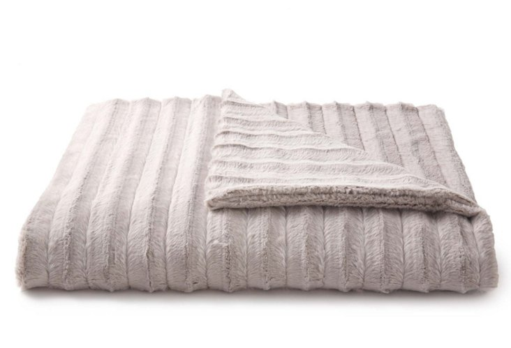 Faux Fur Throw, Channel Silver