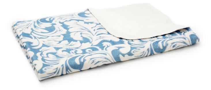 Fleur-de-Lis Swaddling Blanket, Blue