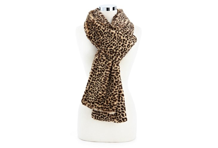 Cheetah Scarf, Brown/Beige