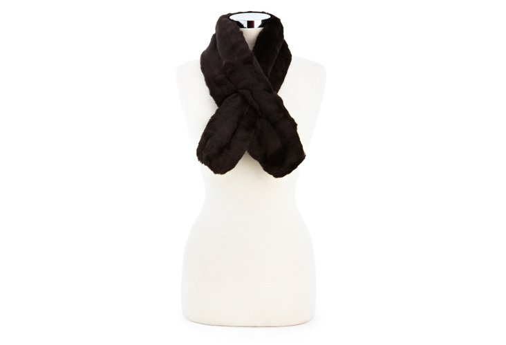 Mink Pull-Through Scarf, Choc
