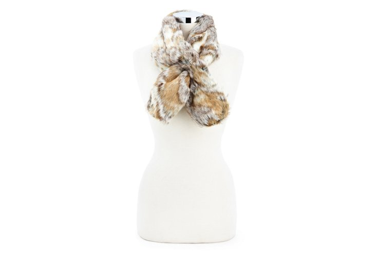 Faux Fox Pull-Through Scarf, Gray
