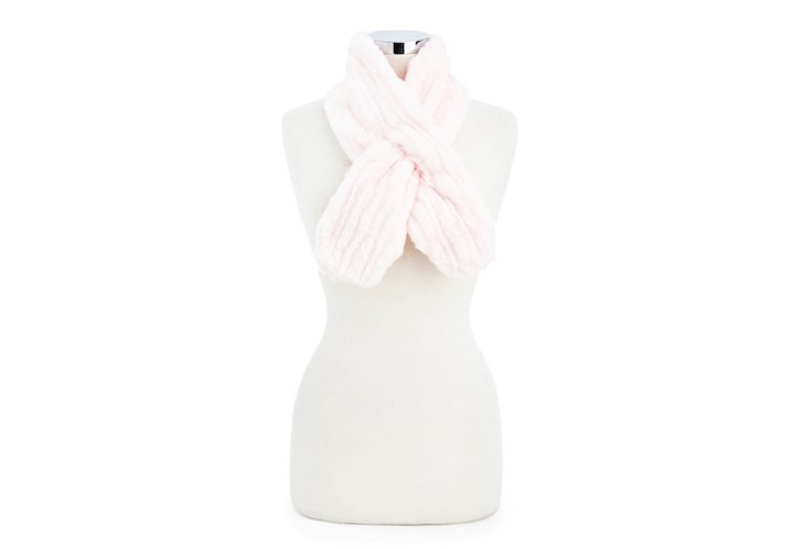 Mink Pull-Through Scarf, Pink