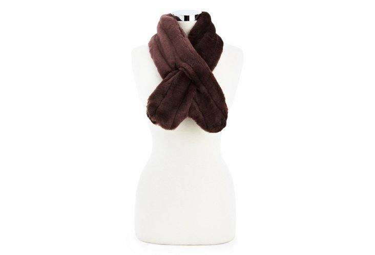 Faux Mink Pull-Through Scarf, Dark Plum