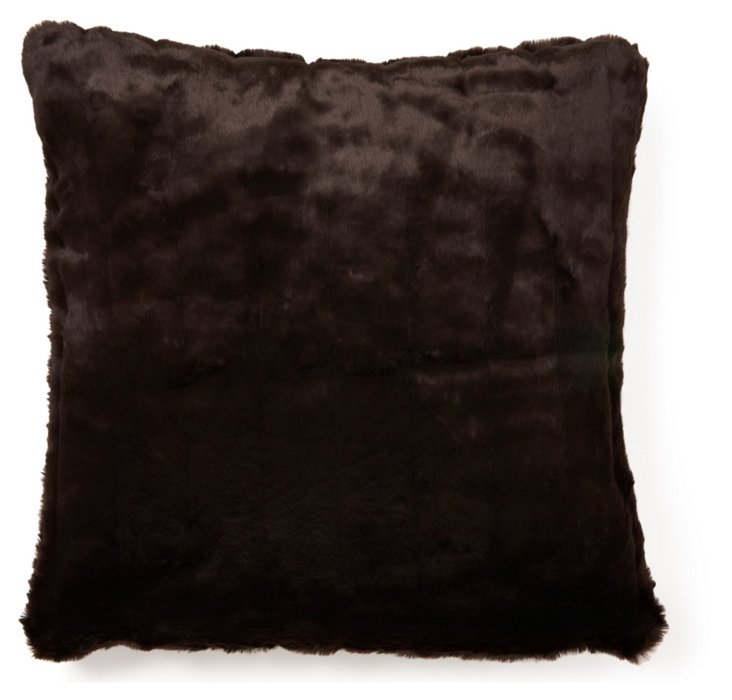 Mink 24x24 Pillow, Chocolate
