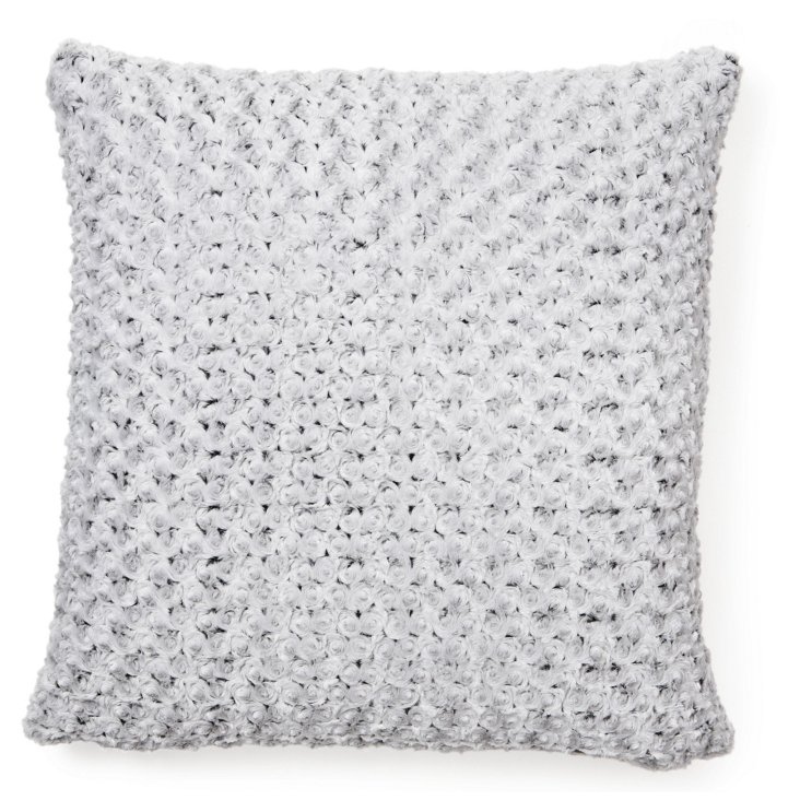 Oversize Rosebud 24x24 Pillow, Gray