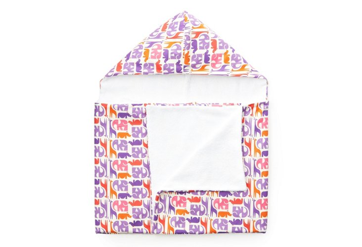 Purple Elephants Hooded Towel