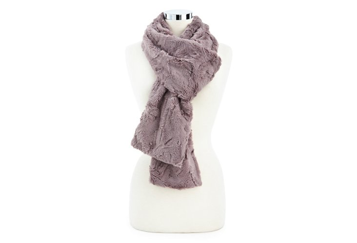 Lux Rabbit Long Scarf, Taupe