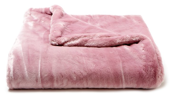 Mink Faux-Fur Throw, Orchid