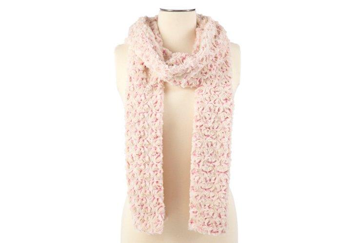 Faux Fur Rosebud Scarf, Pink/Cream
