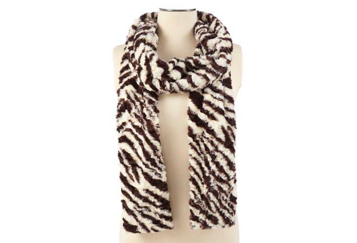 Faux Zebra Scarf, Brown/White