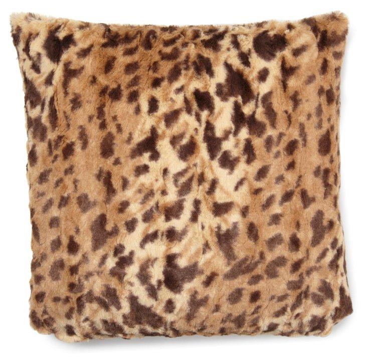 Leopard 20x20 Faux-Fur Pillow, Multi
