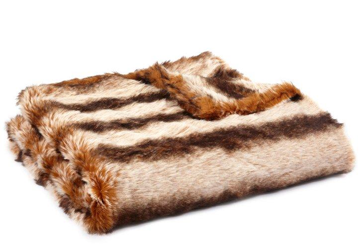 Chinchilla Faux-Fur Throw, Beige/Brown
