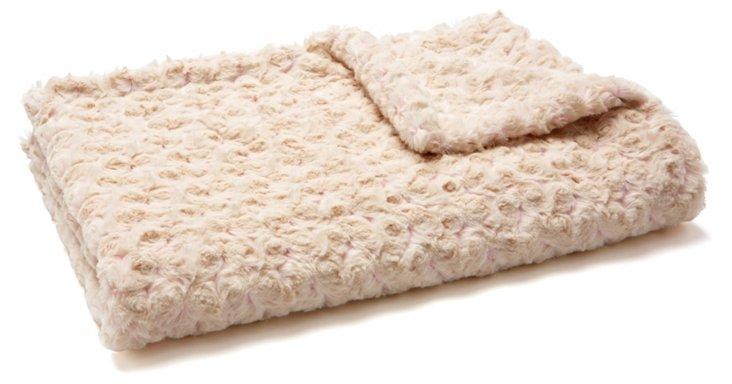 Rosebud Baby Faux-Fur Blanket, Snow/Pink