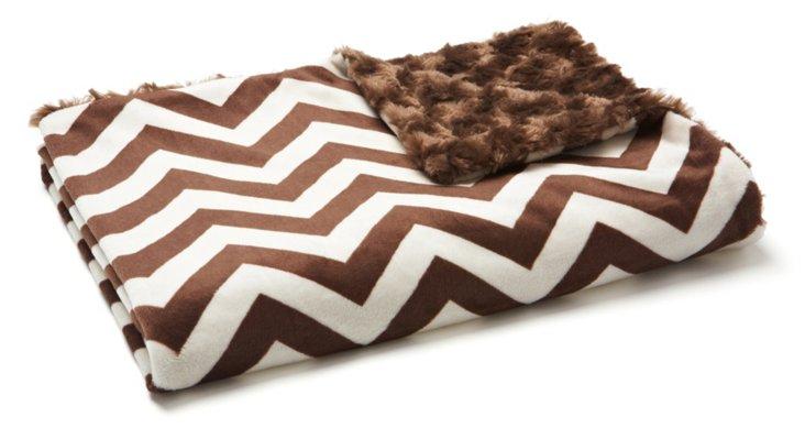 Chevron Baby Blanket, Chocolate