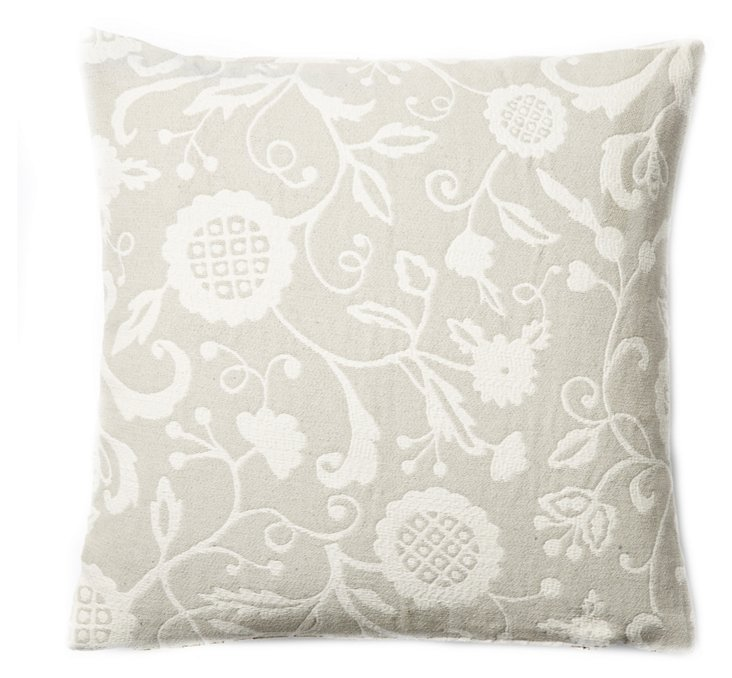 Floral 20x20 Pillow, Sand