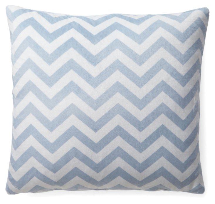 Chevron 20x20 Plush Pillow, Light Blue
