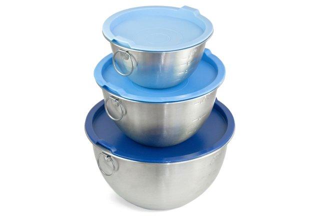 S/3 Mixing Bowls w/ Lids, Blue