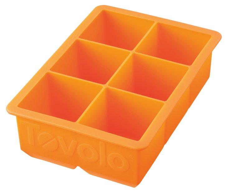 S/2 King Cube Ice Trays, Orange