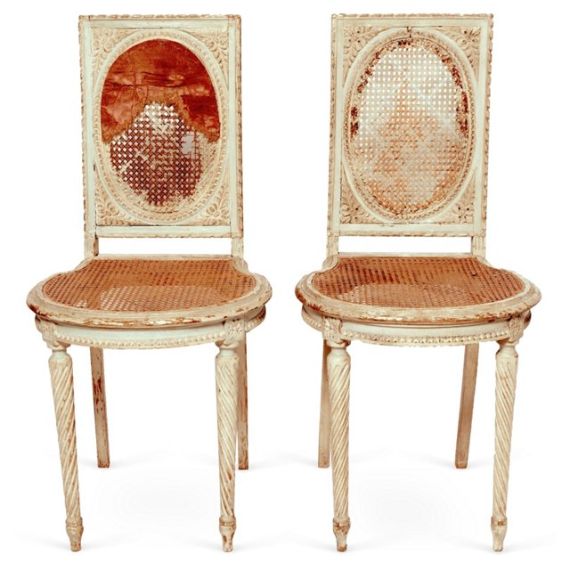 Marie Antoinette Chairs, Pair