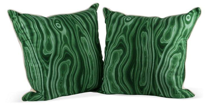 Malachite Pillows, Pair