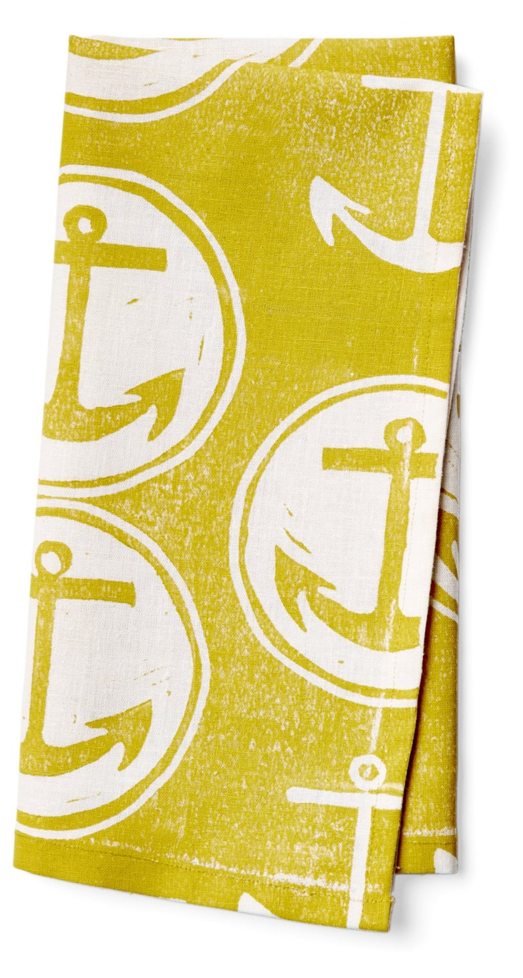 S/4 Anchor Napkins, Chartreuse