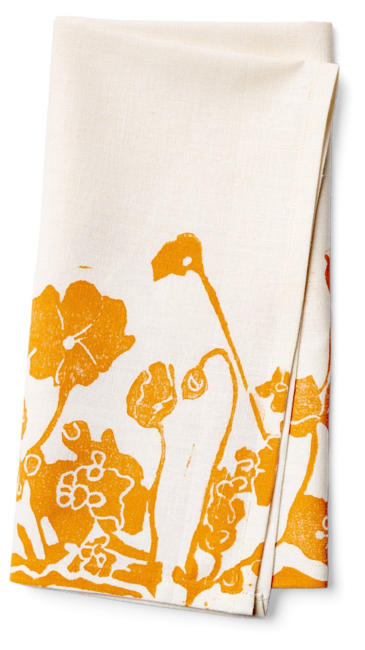 S/4 Pressed Flower Napkins, Marigold