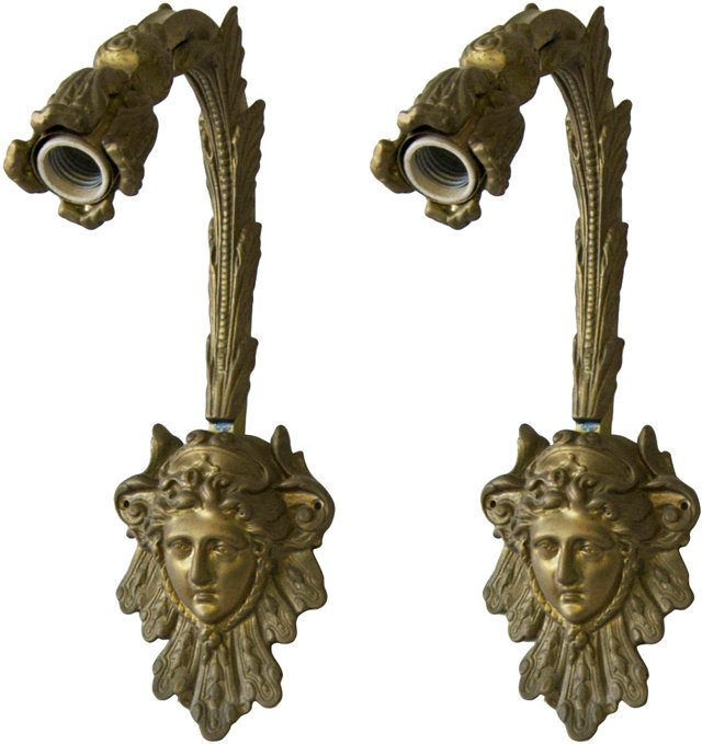Brass Cherub Sconces, Pair