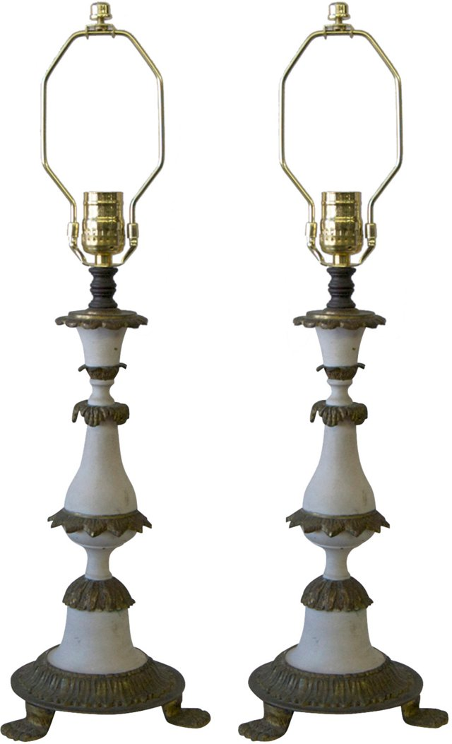 Spanish Wood & Brass Lamps, Pair
