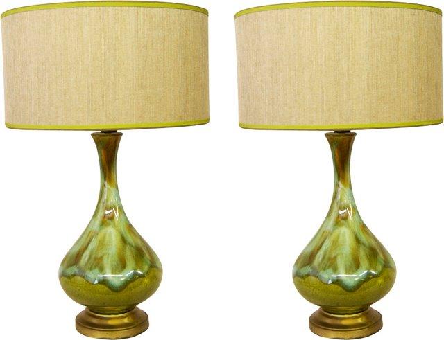 Midcentury Drip-Glaze Lamps, Pair
