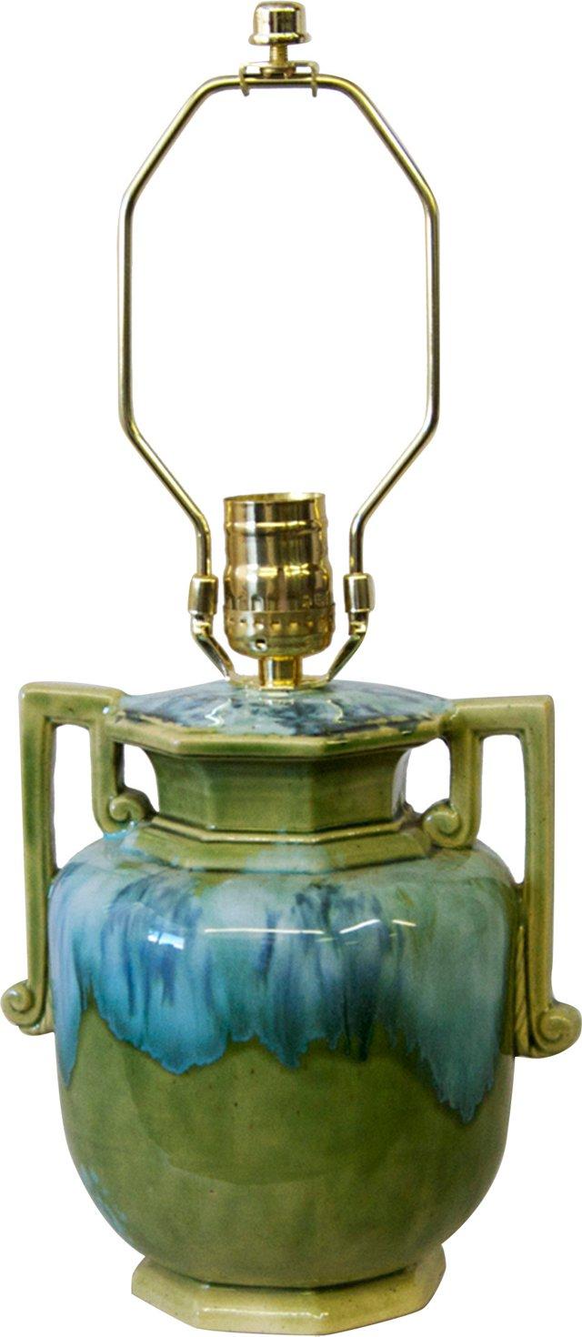 Green & Blue Drip-Glaze Lamp