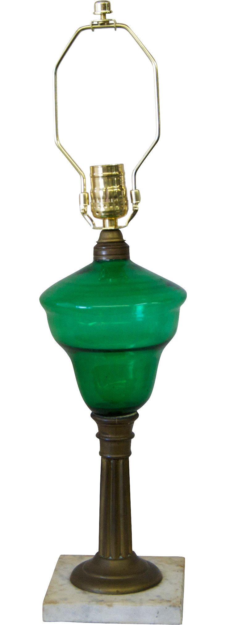 19th-C. Green Glass Oil Lamp