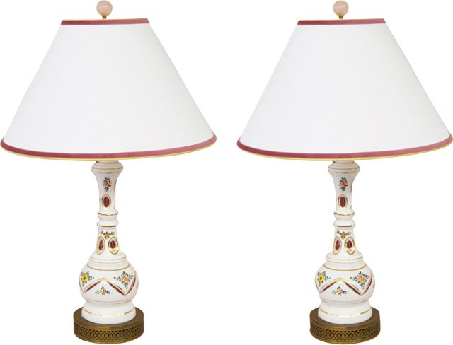 Overlay Cranberry Glass Lamps, Pair