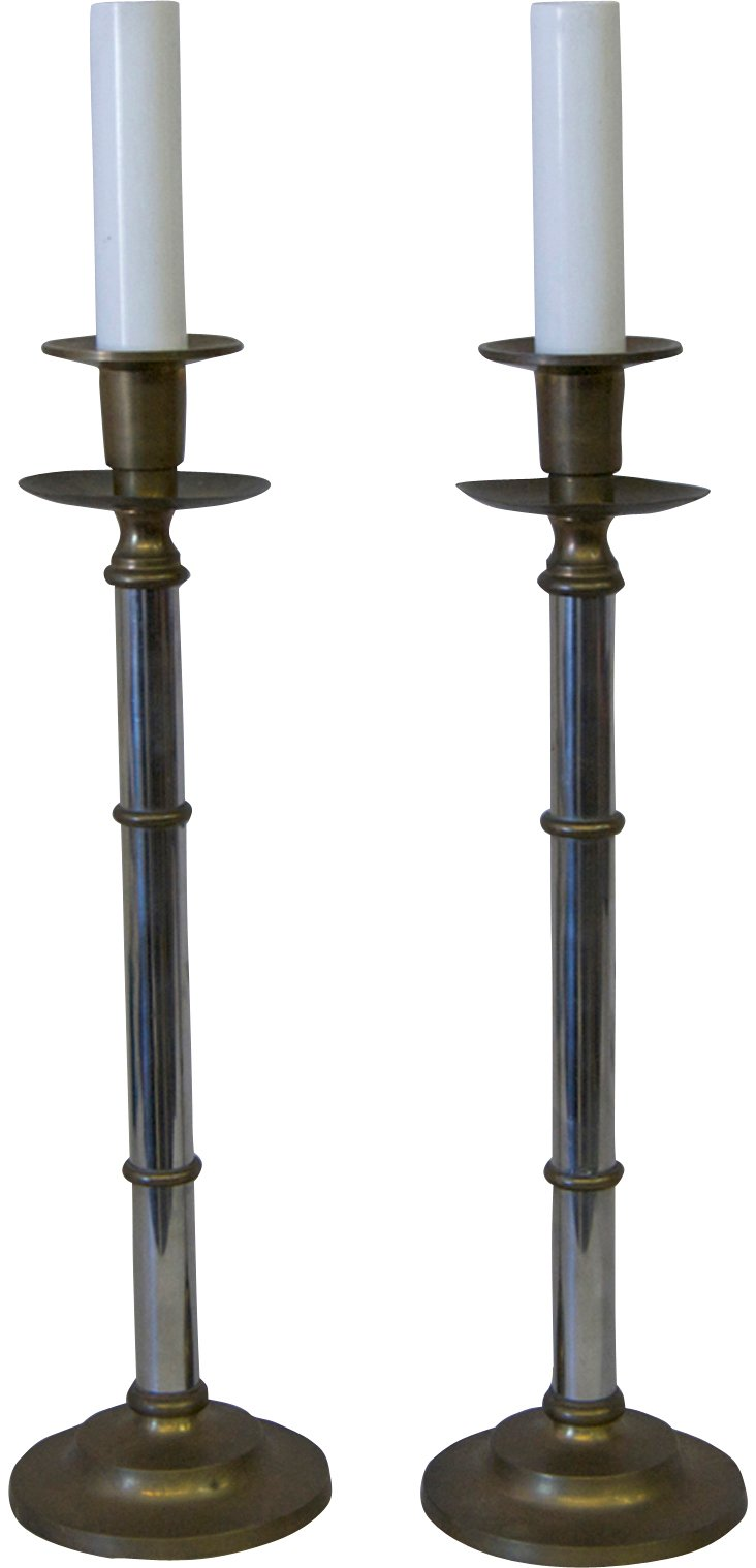 Chrome & Brass Candlestick Lamps, Pair